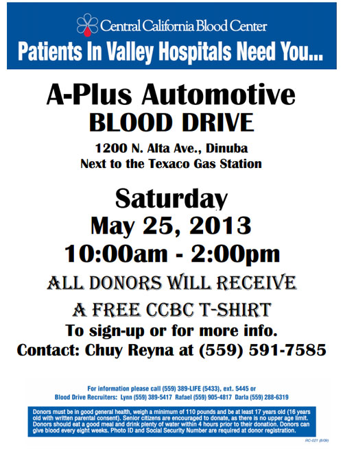 Blood Drive at A-Plus Automotive in Dinuba- Fighting to help others